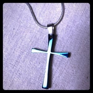 Other - Blue Stainless steel pendant cross necklace